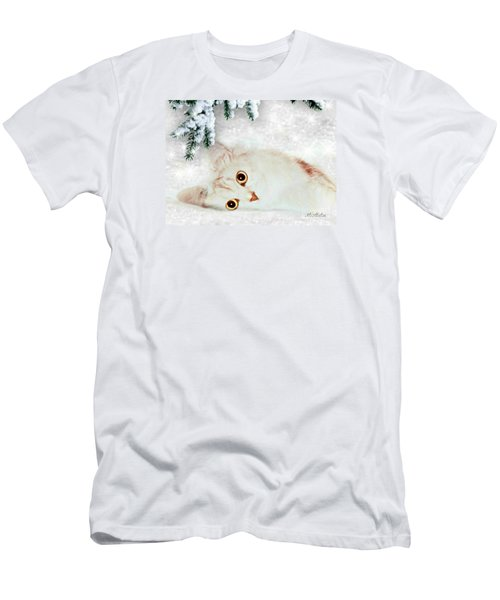 Men's T-Shirt (Slim Fit) featuring the mixed media Mistletoe In The Snow by Morag Bates