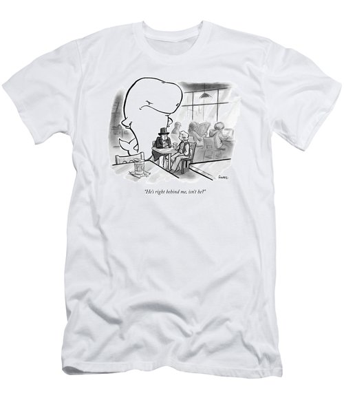 Moby Dick Stands Behind Captain Ahab Men's T-Shirt (Athletic Fit)