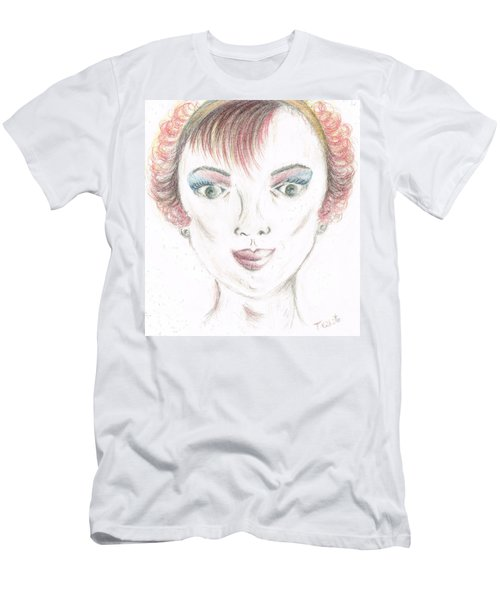 Men's T-Shirt (Slim Fit) featuring the drawing Mollys Makeover/ Pink Day by Teresa White