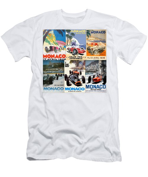 Monaco F1 Grand Prix Vintage Poster Collage Men's T-Shirt (Athletic Fit)