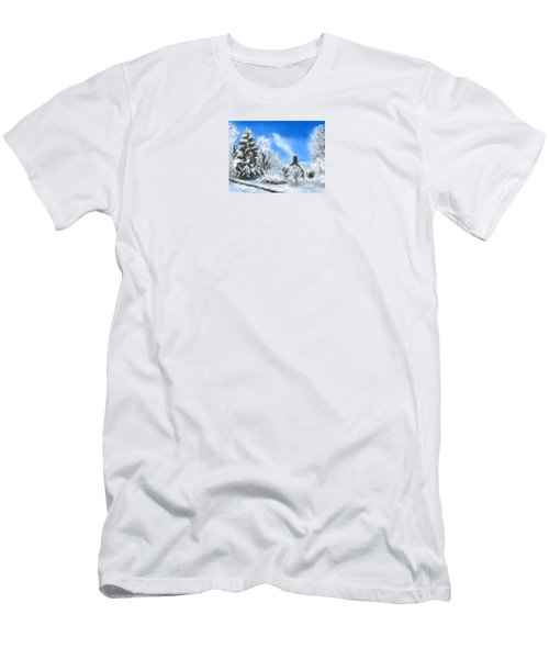 Men's T-Shirt (Slim Fit) featuring the painting Morning After The Snowstorm  by Jean Pacheco Ravinski