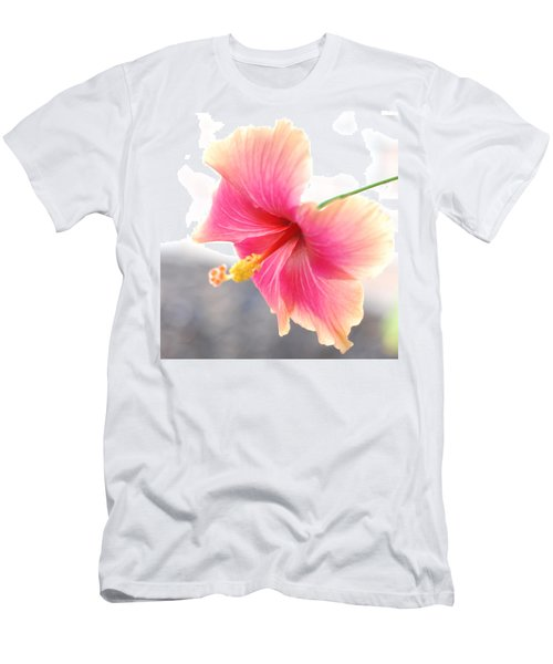 Morning Hibiscus In Gentle Light - Square Macro Men's T-Shirt (Slim Fit) by Connie Fox
