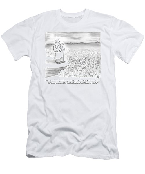 Moses Recites The Ten Commandments To An Audience Men's T-Shirt (Athletic Fit)