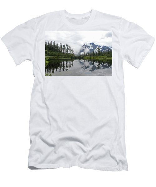 Mount Baker- Lake- Fir Trees And  Fog Men's T-Shirt (Athletic Fit)