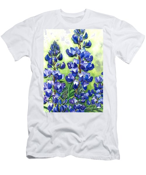 Mountain Blues Lupine Study Men's T-Shirt (Slim Fit) by Barbara Jewell