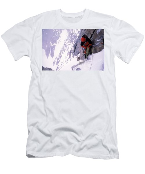 Mountain Climber Repels Down Snowy Men's T-Shirt (Athletic Fit)