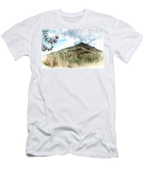 Men's T-Shirt (Athletic Fit) featuring the painting Mountain Rain by Ashley Kujan