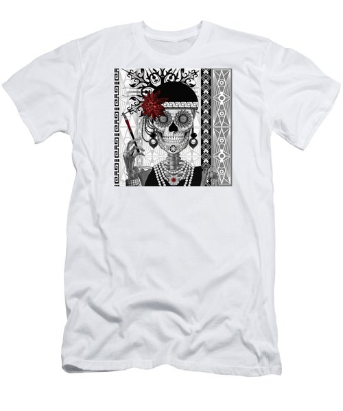 Mrs. Gloria Vanderbone - Day Of The Dead 1920's Flapper Girl Sugar Skull - Copyrighted Men's T-Shirt (Slim Fit) by Christopher Beikmann