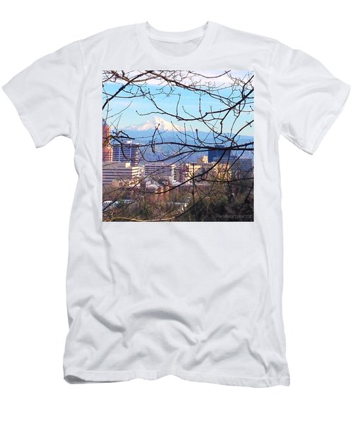 Mt Hood And Downtown Portland Men's T-Shirt (Athletic Fit)