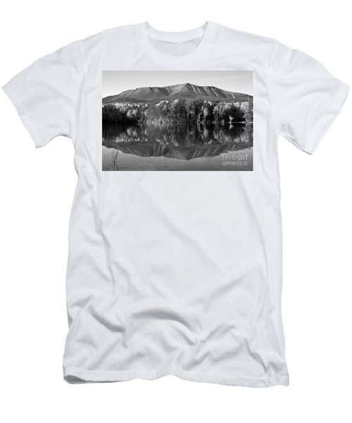 Mt Katahdin Black And White Men's T-Shirt (Athletic Fit)