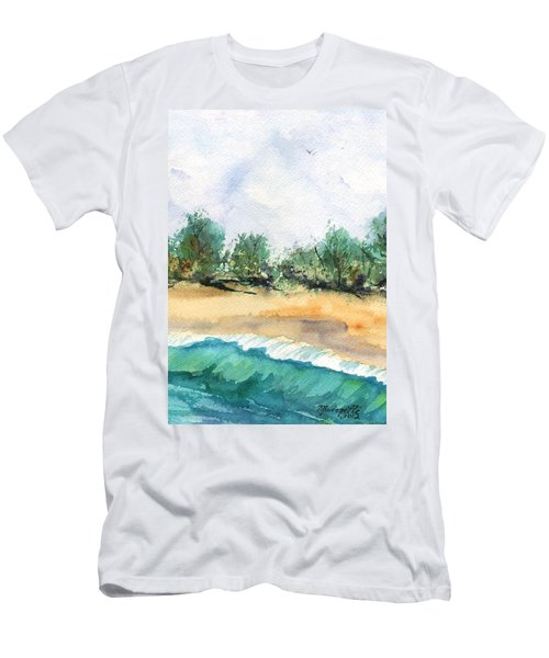 Men's T-Shirt (Slim Fit) featuring the painting My Secret Beach by Marionette Taboniar