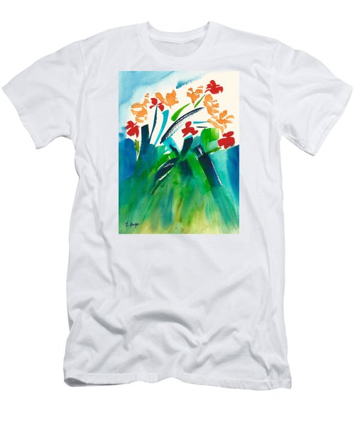 Men's T-Shirt (Slim Fit) featuring the painting Natures Bouquet Abstract by Frank Bright