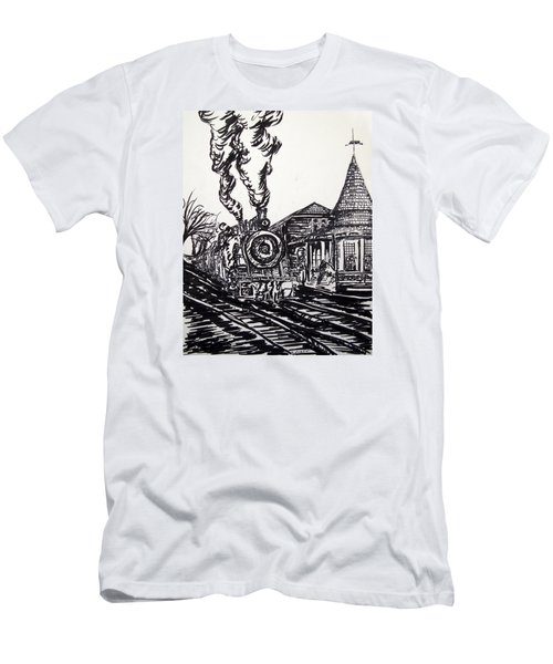 New Hope Train Station Sketch Men's T-Shirt (Athletic Fit)
