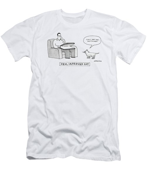New, Improved Cat 'can I Get You Anything?' Men's T-Shirt (Athletic Fit)