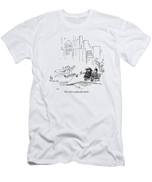 New York Is A Place Of Free Spirits Men's T-Shirt (Athletic Fit)