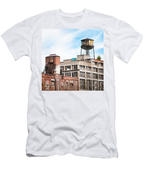 Men's T-Shirt (Slim Fit) featuring the photograph New York Water Towers 18 - Greenpoint Water Tower by Gary Heller