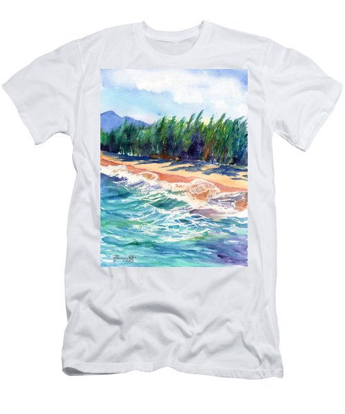 Men's T-Shirt (Slim Fit) featuring the painting North Shore Beach 2 by Marionette Taboniar