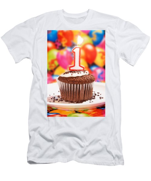 Men's T-Shirt (Slim Fit) featuring the photograph Chocolate Cupcake With One Burning Candle by Vizual Studio