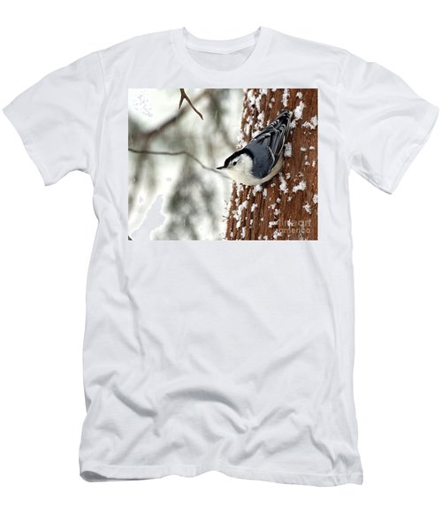 Nuthatch In Snow Storm Men's T-Shirt (Slim Fit) by Paula Guttilla