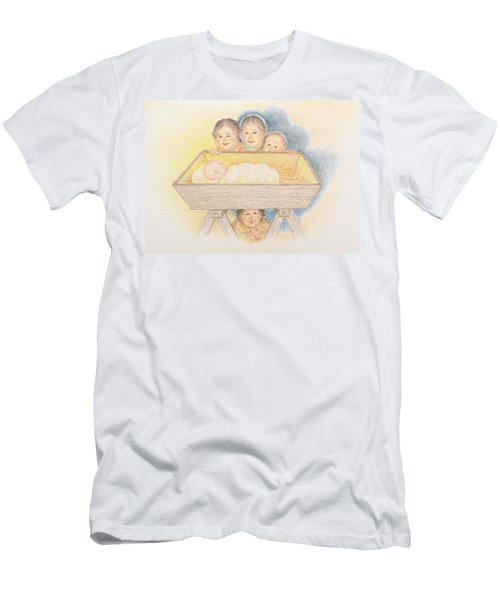 O Come Little Children - Christmas Card Men's T-Shirt (Athletic Fit)