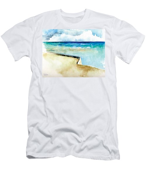 Ocean Pier In Key West Florida Men's T-Shirt (Slim Fit) by Catherine Twomey