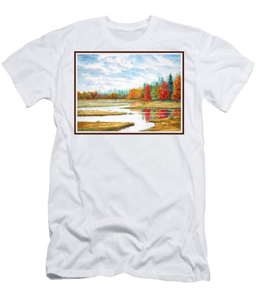 Men's T-Shirt (Slim Fit) featuring the painting Old Forge Autumn by Roger Rockefeller