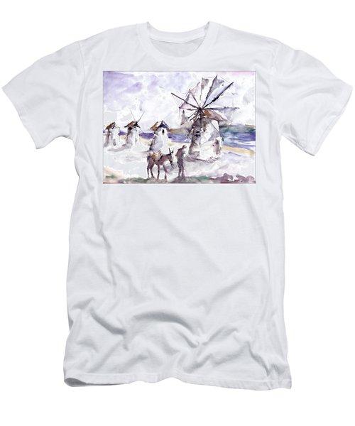 Old Windmills At Bodrum Men's T-Shirt (Slim Fit) by Faruk Koksal