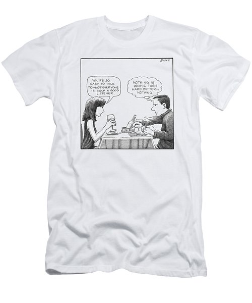 On A Date, A Woman Compliments The Man's Men's T-Shirt (Athletic Fit)