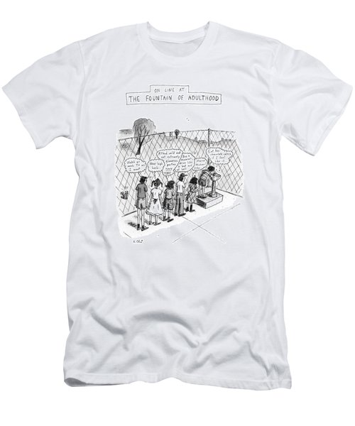 On Line At The Fountain Of Adulthood: Watch Men's T-Shirt (Athletic Fit)