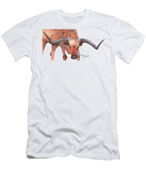 On The Level Texas Longhorn Watercolor Painting By Kmcelwaine Men's T-Shirt (Slim Fit) by Kathleen McElwaine