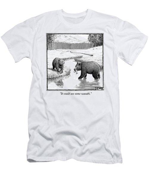 One Bear Speaks To Another As They Catch Fish Men's T-Shirt (Athletic Fit)