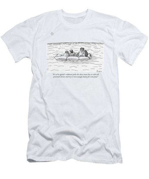 One Man Speaks To Three Others Men's T-Shirt (Athletic Fit)