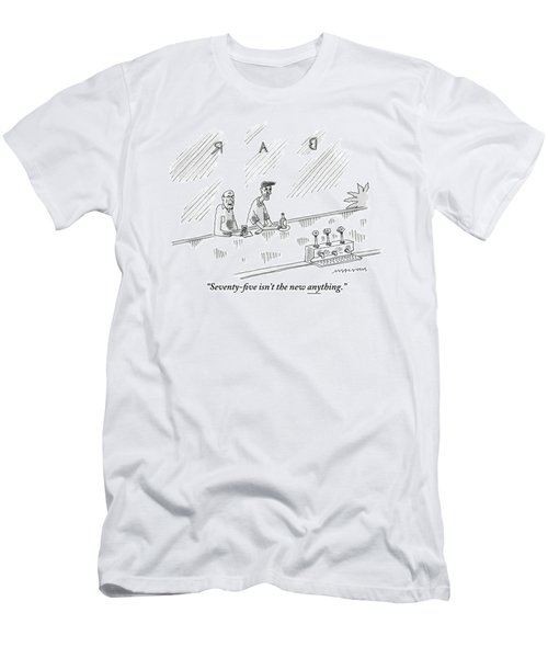 One Old Man Drinking At A Bar Speaks To Another Men's T-Shirt (Athletic Fit)