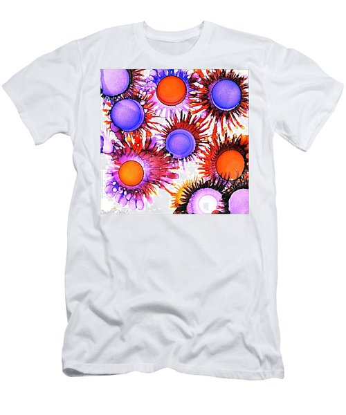Orange And Purple Alcohol Inks Abstract Men's T-Shirt (Athletic Fit)