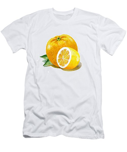 Orange With Half Lemon Men's T-Shirt (Athletic Fit)