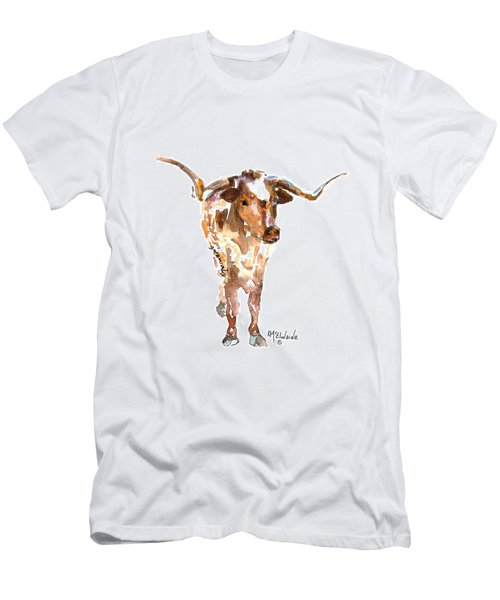 Original Longhorn Standing Earth Quack Watercolor Painting By Kmcelwaine Men's T-Shirt (Slim Fit) by Kathleen McElwaine