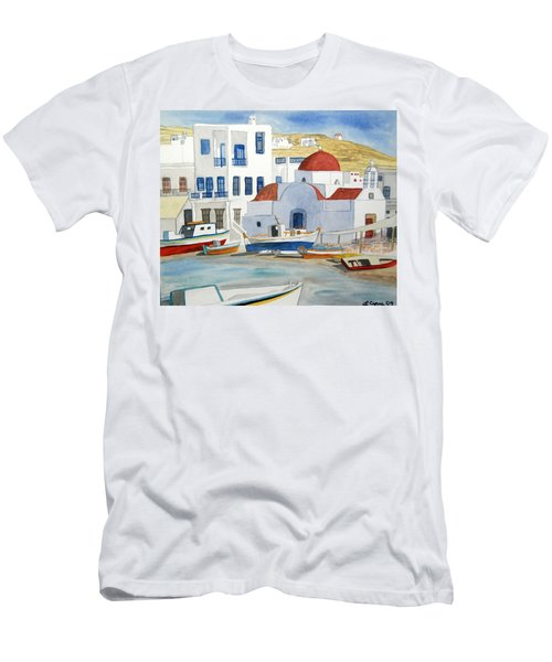 Watercolor - Mykonos Greece Detail Men's T-Shirt (Athletic Fit)