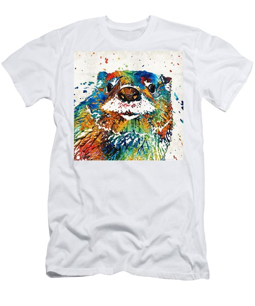 Otter Art - Ottertude - By Sharon Cummings Men's T-Shirt (Slim Fit) by Sharon Cummings