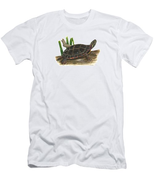 Painted Turtle Men's T-Shirt (Slim Fit) by Cindy Hitchcock