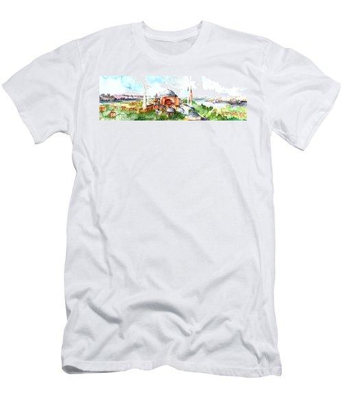 Panoramic Hagia Sophia In Istanbul Men's T-Shirt (Slim Fit) by Faruk Koksal