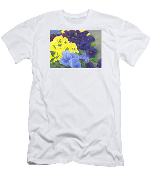 Pansy Garden Bright Colorful Flowers Painting Pansies Floral Art Artist K. Joann Russell Men's T-Shirt (Slim Fit) by Elizabeth Sawyer
