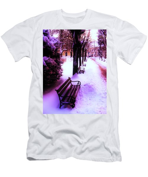 Park Benches In Snow Men's T-Shirt (Slim Fit) by Nina Ficur Feenan