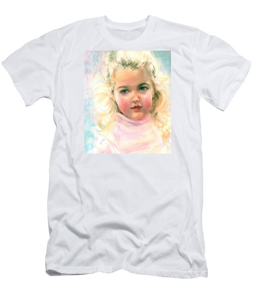Men's T-Shirt (Slim Fit) featuring the painting Pastel Portrait Of An Angelic Girl by Greta Corens