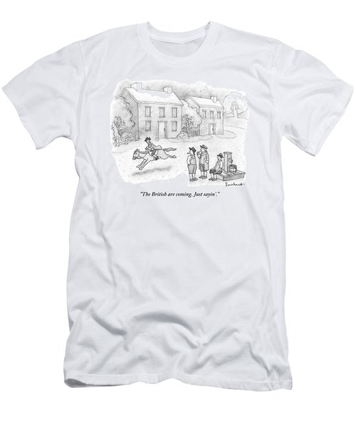 Paul Revere Rides Past Two Colonial Men Smoking Men's T-Shirt (Athletic Fit)