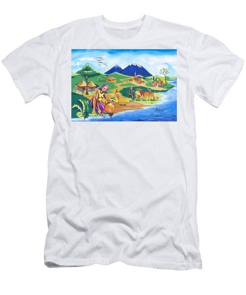 Men's T-Shirt (Slim Fit) featuring the painting Paysage Du Nord Du Rwanda by Emmanuel Baliyanga