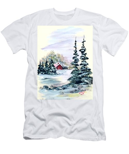 Men's T-Shirt (Slim Fit) featuring the painting Peaceful Winter by Dorothy Maier