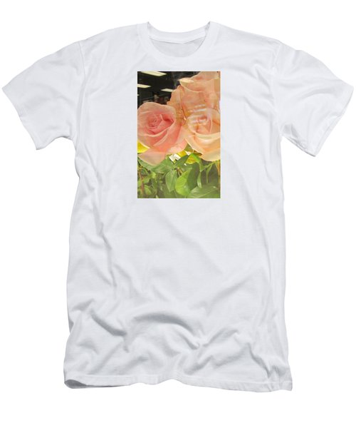 Peach Roses In Greeting Card Men's T-Shirt (Athletic Fit)