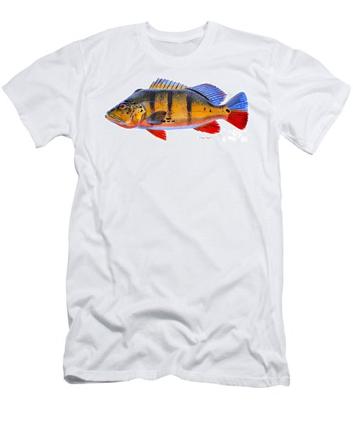 Peacock Bass Men's T-Shirt (Slim Fit) by Carey Chen