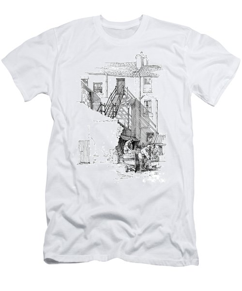 Men's T-Shirt (Slim Fit) featuring the drawing Peel Back Street by Paul Davenport