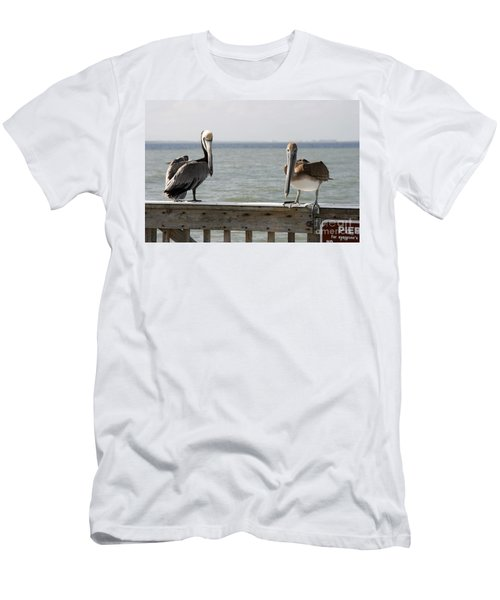 Pelicans On The Pier At Fort Myers Beach In Florida Men's T-Shirt (Athletic Fit)